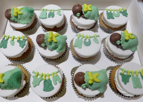 Sleeping babies and Baby Clothes Shower cupcakes
