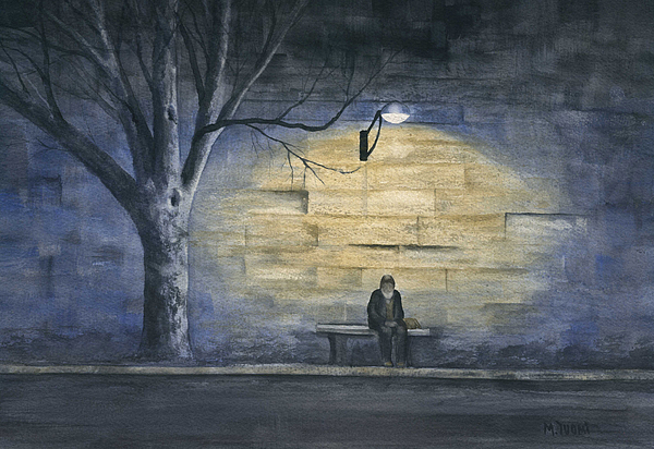 Painting of Man on Bench