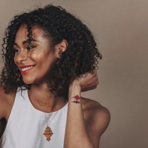 The Camelia bijoux - Collier Chellah jaune + Bracelets Souika bleu majorelle et Badi rose