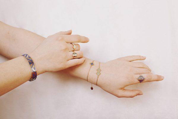 Jonc Zagora + bagues brodées + bracelet Chouara et Ménara