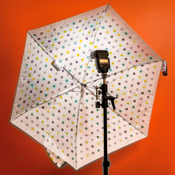 TOTES SKINNI MINI UMBRELLASmall umbrella, about nine inches when folded, works well as an emergency light diffuser.
