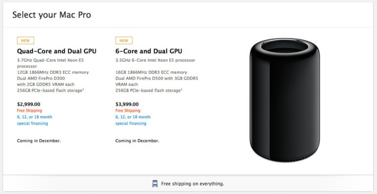 Apple.Com Store Pricing For The Two Base Models Of The New Mac Pro.