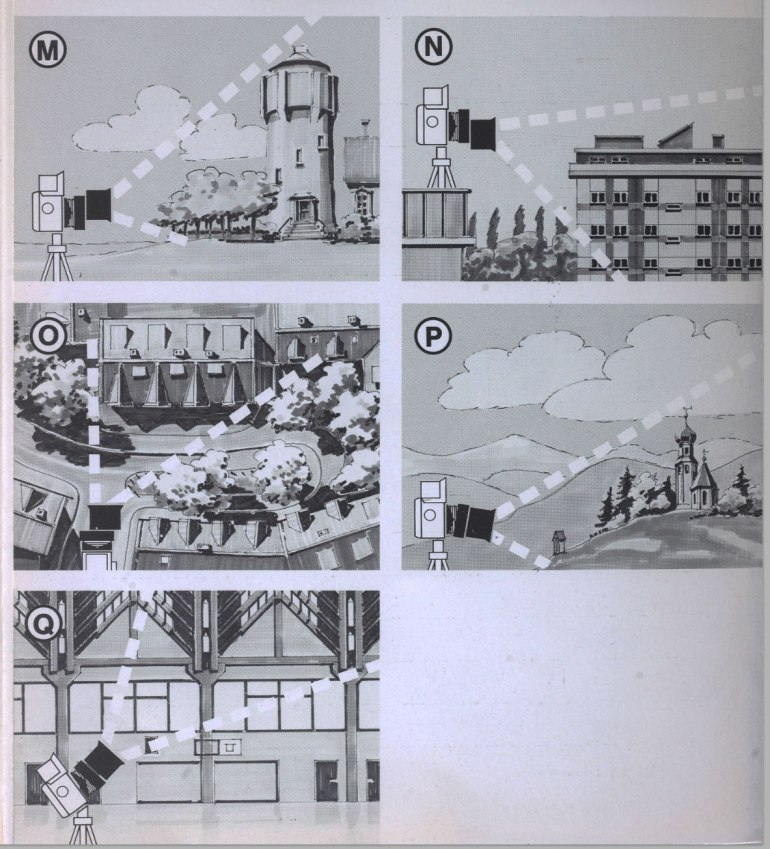 Infographic from the Rollei manual illustrating the lens movements and each of their corresponding image effects.