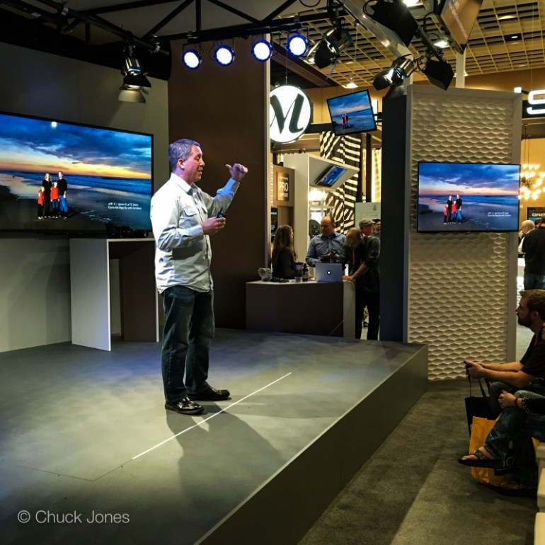 Sony Artisan of Imagery Paul Gero up on stage sharing Pro Tips with his audience.