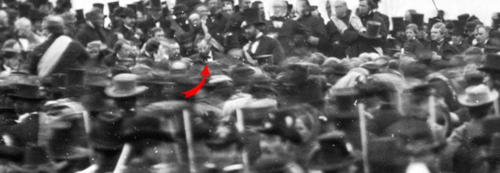Only know photograph of President Abraham Lincoln at the Gettysburg Address