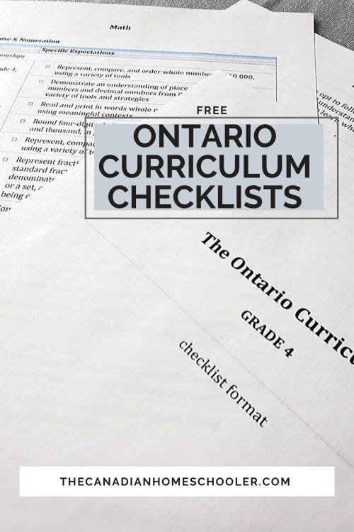 small resolution of Ontario Curriculum Checklists for Grades 1 to 8