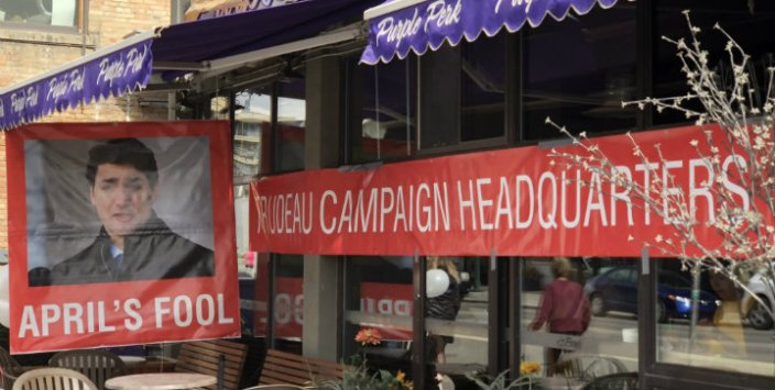 "Calgary coffee shop mocks Trudeau as ""April's Fool"", transforms into fake campaign headquarters"