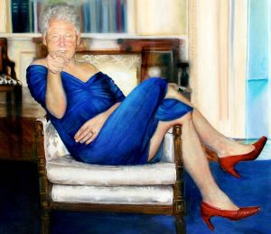 Epstein had a painting of Bill Clinton wearing a blue DRESS