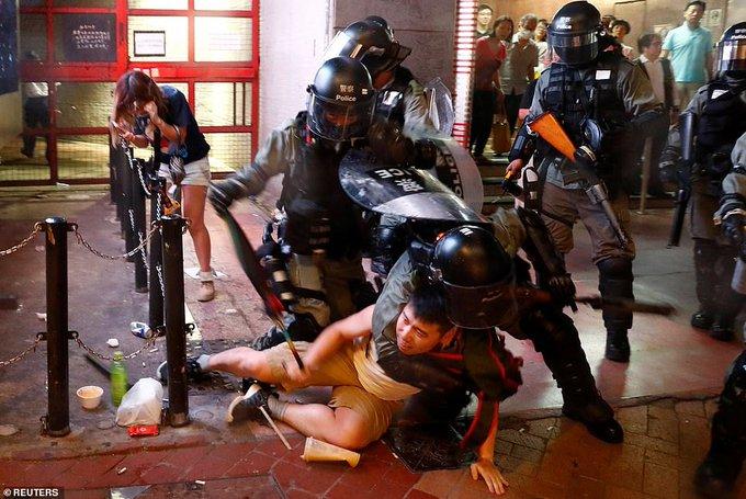 Downtown Hong Kong becomes battleground as night falls