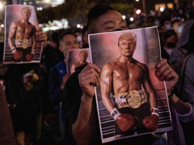 Hong Kong Protesters Hold Trump 'Rocky Balboa' Posters at Thanksgiving Rally