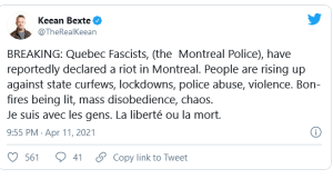 Montreal Police declare RIOT