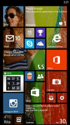 A highly customized Windows Phone 8.1 Start Screen