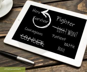 Black board with word cloud: Cancer, Hero, Survivor, Courageous, Brave, Battle, Patient, Won / Lost, Fighter.