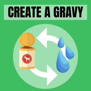 Creating a gravy using a high moisture diet to top our dried or dehydrated meals is another common way to entice our picky pups to eat.