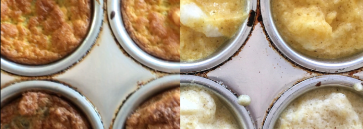 Before and after cooking of the cake layers in a muffin tin.