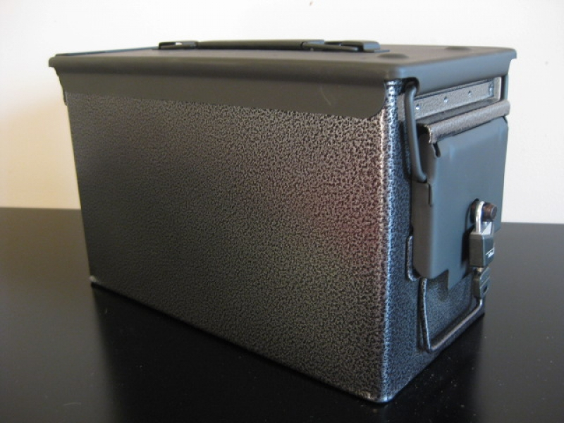 AMMO CAN HANDGUN CASE VERY COOL DOUBLE GUN 50 AMMO BOX 50 CAL CHARCOAL  The Can Man