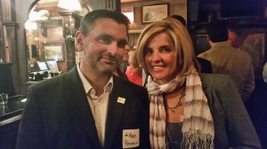 Illinois Cannabis Industry Association board members Mark Passerini (left) and Lori Ferrara (right) pose during the Tuesday evening member reception.