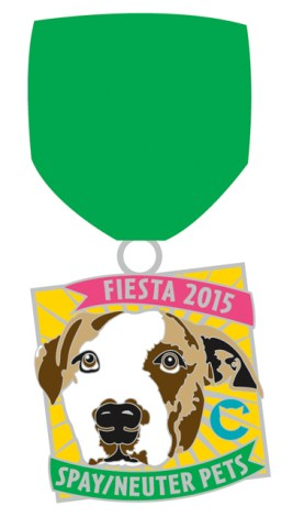 The Cannoli Fund's 2015 Dog Medal features Rocky, a pit bull-type dog.