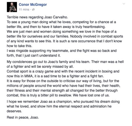 McGregor took to Facebook to offer his condolences