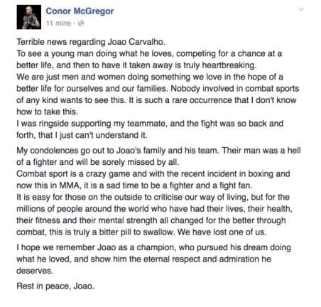 McGregor took to Facebook to offer his condolences