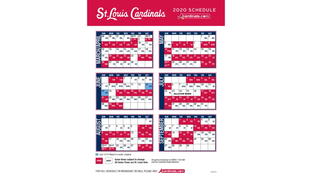 Mets 2020 Printable Schedule.St Louis Cardinals Announce 2020 Schedule The Cardinal Nation