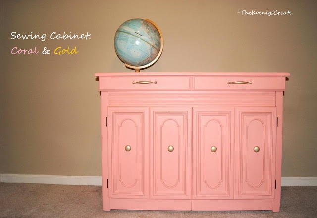 gold and coral sewing cabinet
