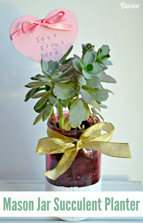 Mason Jar Succulent Gift Idea For Valentines Day The