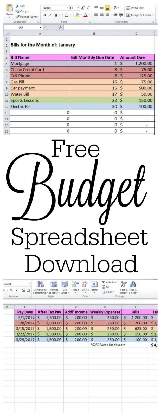 spreadsheet to keep track of bills