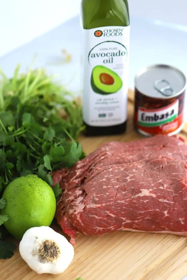 Chipotle Carne Asada Marinade Ingredients. Carne Asada meat, avocado oil, garlic, cilantro, lime and chipotle peppers