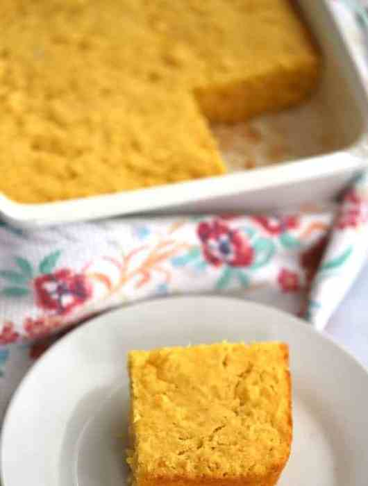 simple corn bread in a baking dish and on a small plate