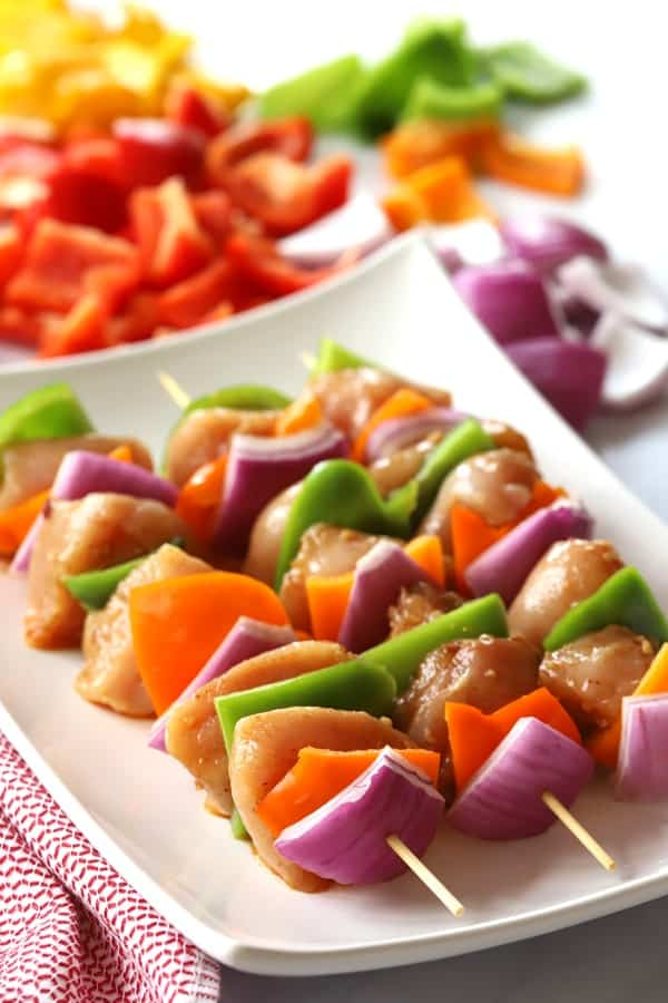 Southwest marinade on a chicken shish kabob