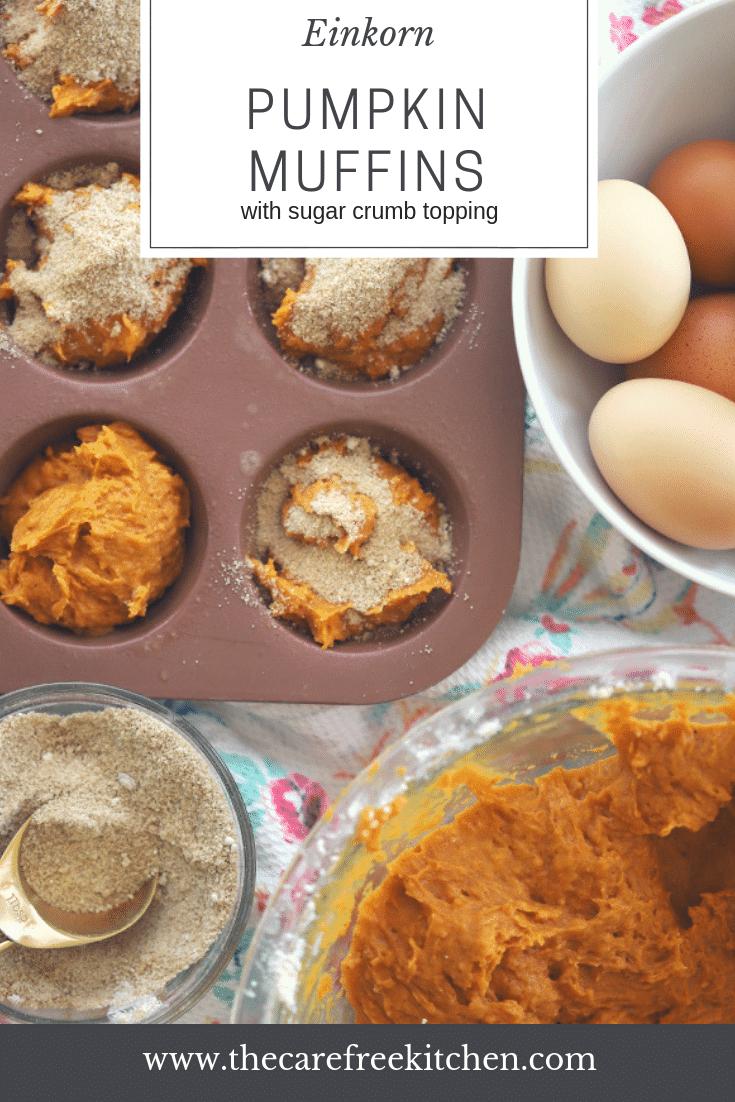 Einkorn Pumpkin muffins with a sugar crumb topping