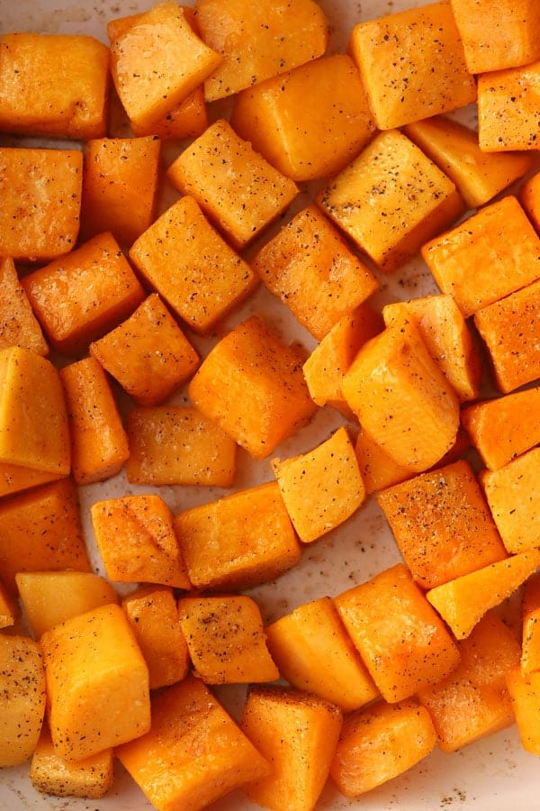 cinnamon Squash in a baking dish, ready to cook