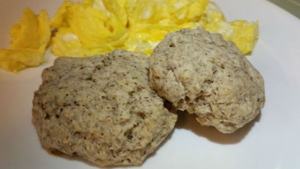 Wheat-free biscuits with scrambled eggs.
