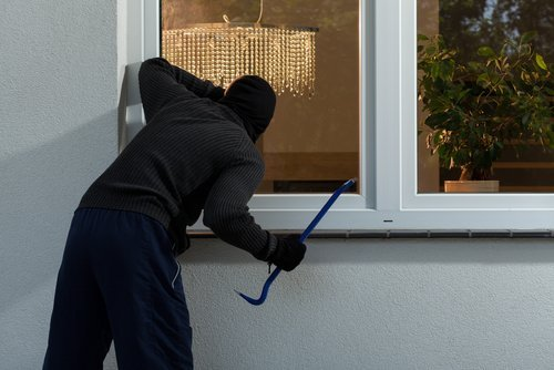 a burglar peers into the window of a home