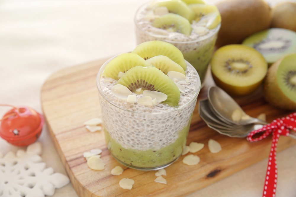 chia pudding and kiwi christmas breakfast