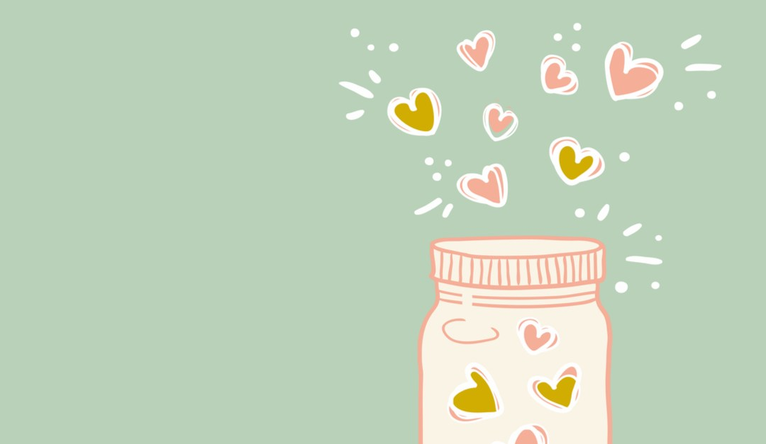 hand drawn happiness jar full of hearts