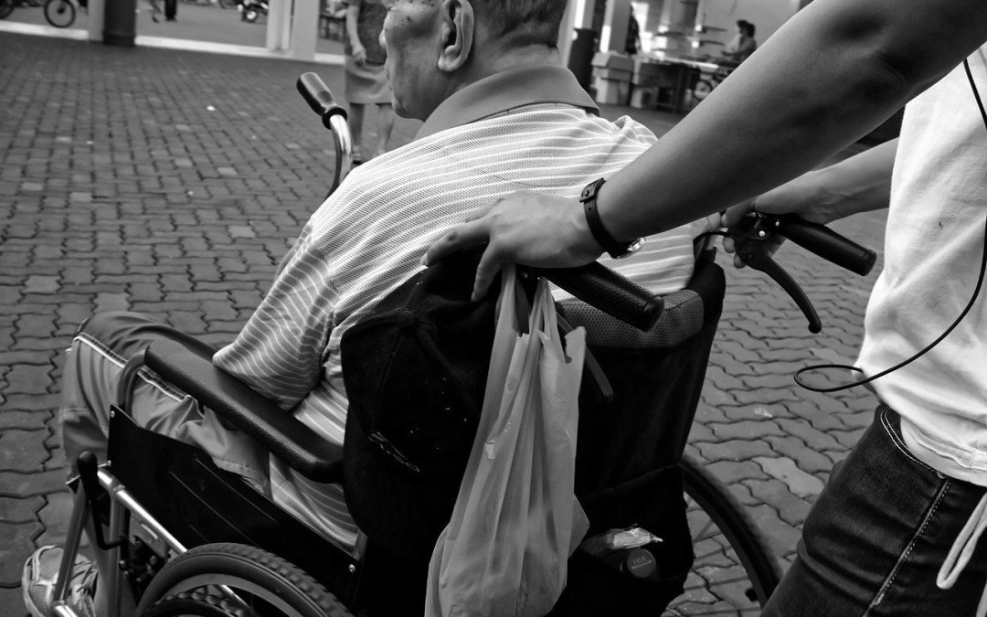elderly man in a wheelchair being pushed by a carer