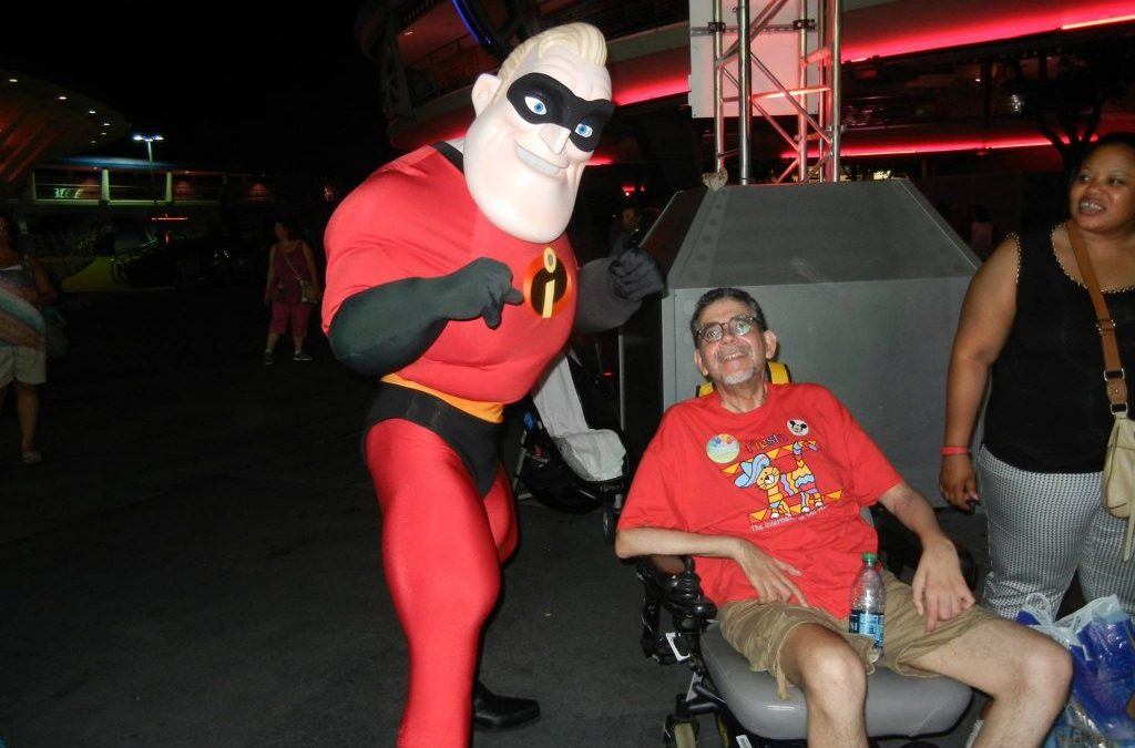 Ben with Mr. Incredible at Walt Disney World
