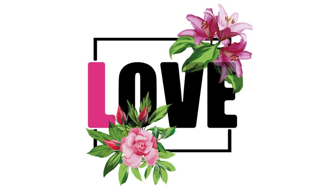 love in large letters surrounded by illustrated pink flowers
