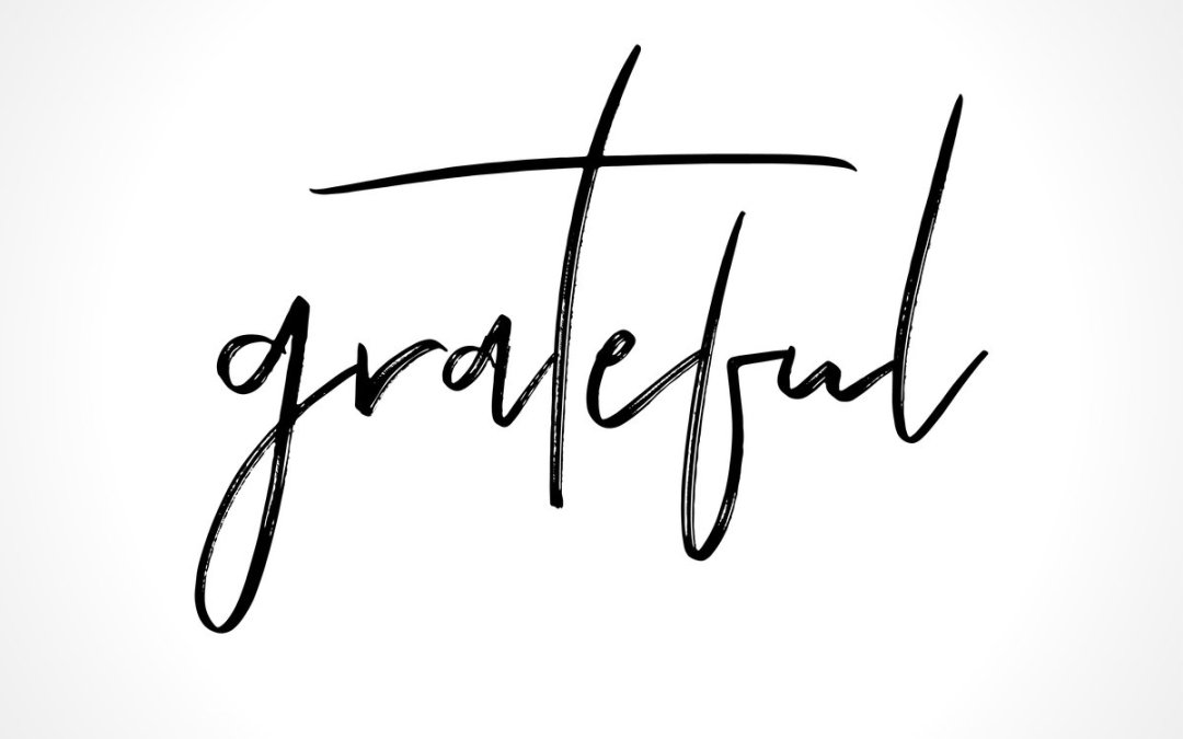 Grateful - lettering message. Hand drawn phrase. Handwritten modern brush calligraphy