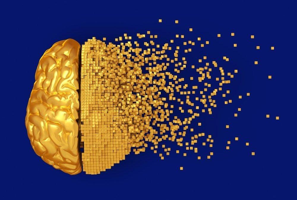 Desintegration Of Golden Digital Brain On Blue Background. 3D Illustration