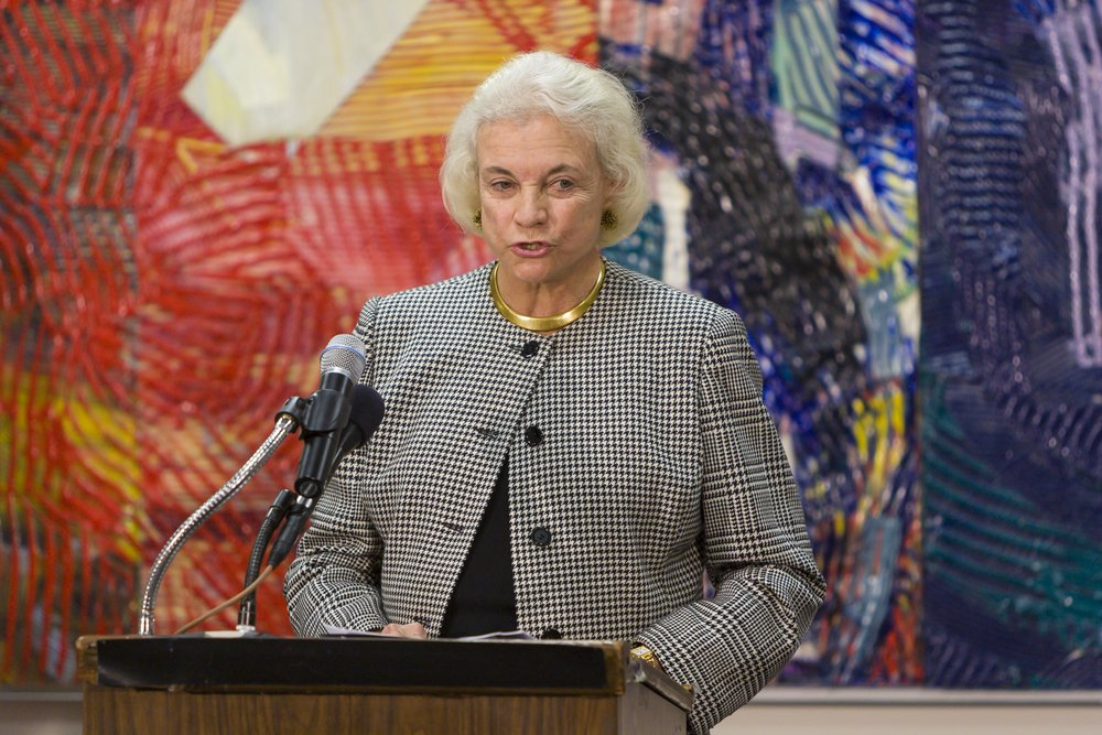 WASHINGTON, DC - DECEMBER 9, 2004: U.S. Supreme Court Justice Sandra Day O'Connor speaks to jurors during American Bar Association's American Jury Initiative, media event, at Moultrie Courthouse