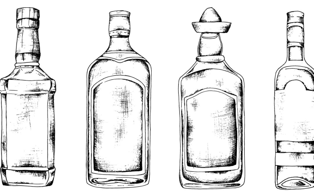 line drawings of four liquor bottles in a row