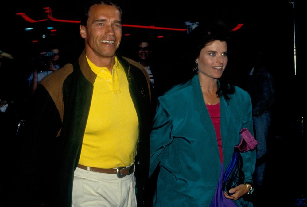LOS ANGELES - circa 1991: Actor Arnold Schwarzenegger and his wife Maria Shriver leave Spago restaurant
