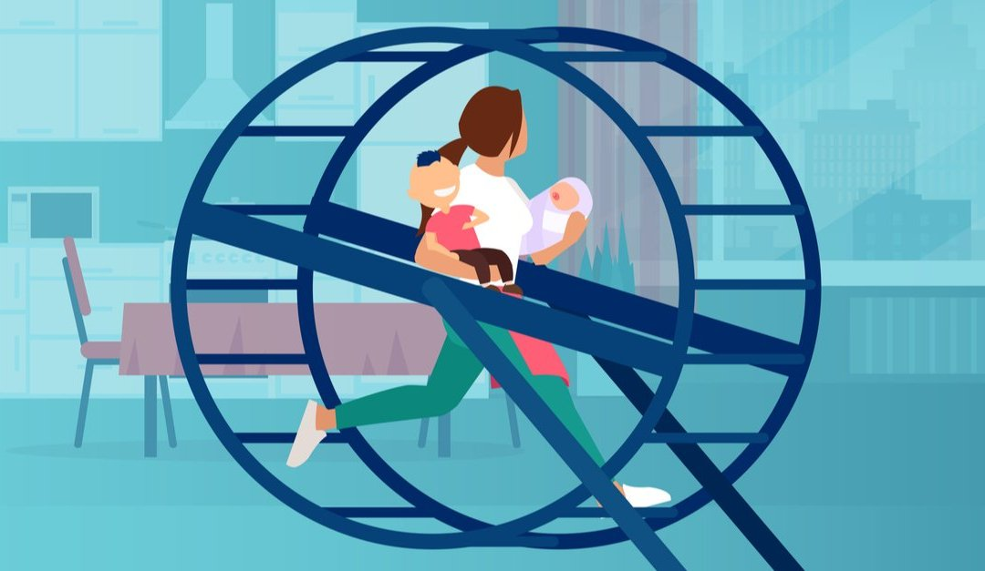 Vector of a young woman with two little kids running in a wheel in her apartment feeling overburdened with daily errands