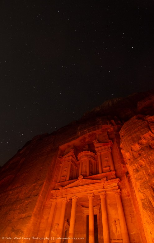 The Treasury (Al Khazneh) In Petra Light By Hundreds Of Candles