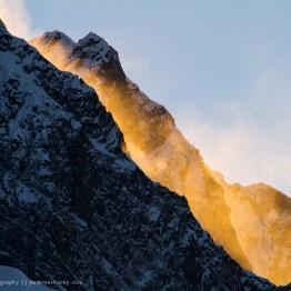 Spindrift on fire, Himalayas, Nepal