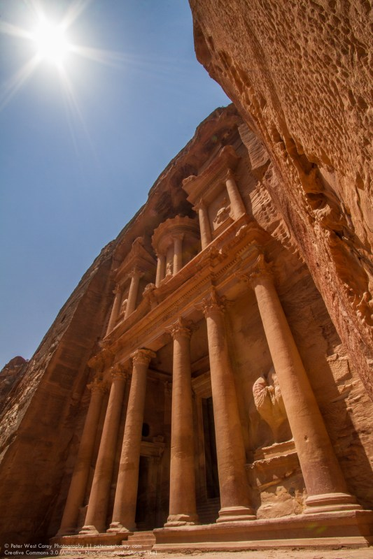 Sunshine On The Treasury At Petra, Jordan