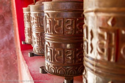 Close-up prayer wheels - Nepal